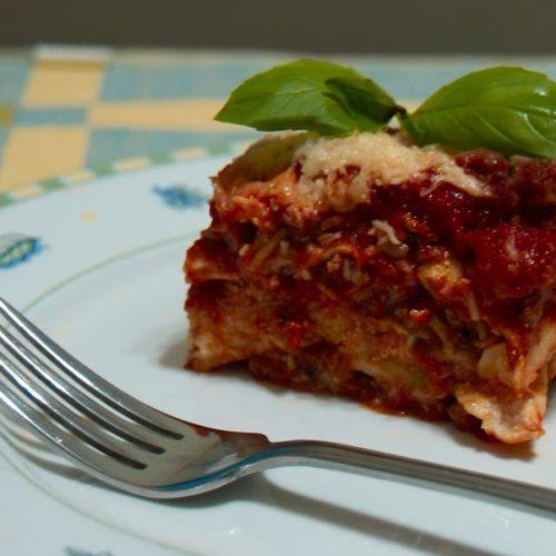 Lasagna servida